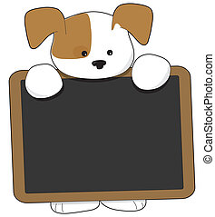 Puppy Blackboard - A cute brown and white puppy is holding a...