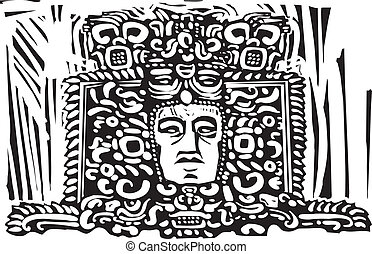 Mayan Stele Head - Image of a Mayan king from a ruined...