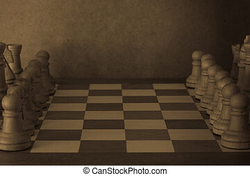 Old Chess - A black and white image of an old chess board