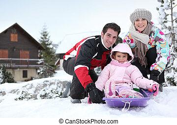 família, Inverno, feriado