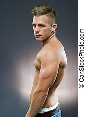 Fit young athlete - Half lenth portrait of fit young...