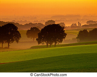 Orange sunrise over misty and hilly farmland