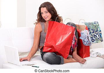 mulher, cercado, sacolas, shopping, online