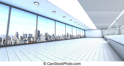 A empty office with the Skyline of Sao Paulo, Brazil, in the Background. Architectural visualisation. 3D rendered Illustration.
