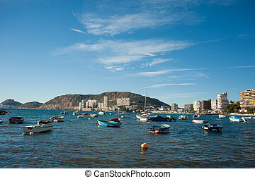 Alicante - Traditional small fishing boats mooring in...