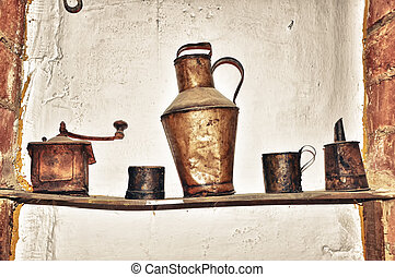 Ancient old dishware kitchen inside - Ancient old...