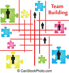 Team Building - Vector of four jigsaw puzzle pieces on the...
