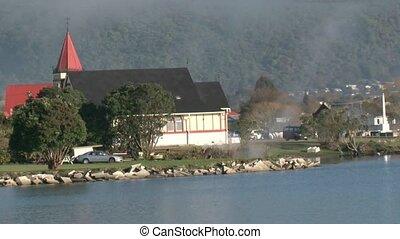 Lake Rotorua towards township of Rotorua, New Zealand