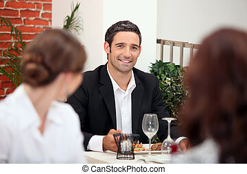Handsome man in a restaurant