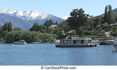 Lake Wanaka houseboat - view over Lake Wanaka with a...