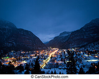 Mountain Town - Overlook of downtown Ouray in winter