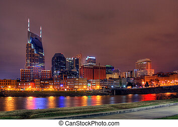 Nashville Tennessee skyline at night