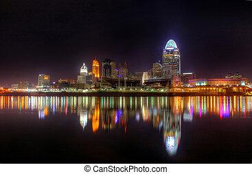 Night Skyline, Cincinnati, Ohio - 4am, Cincinnati Ohio...