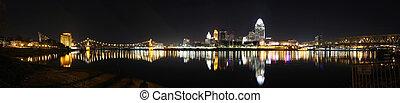 Panorama, Cincinnati Skyline - 4am January 16 2012,...