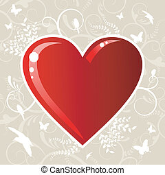 Valentines love heart background - Romantic red love heart...