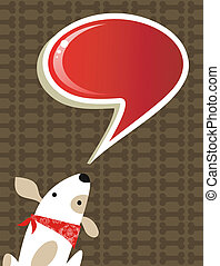 Social dog with chat bubble - Fashion social media dog with...