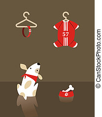 Fashion dog shopping - Dog shopping collar and suit. Vector...