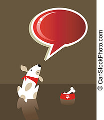 Speech bubble and dog - The dog with bone food and red...