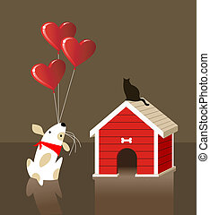 The dog and cat Valentines love - The dog gives to the cat a...