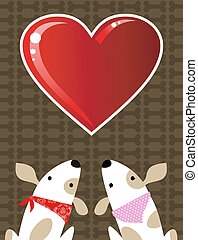 Valentines dog love background - Romantic Valentines red...