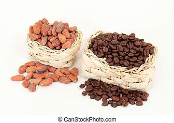 Bohnen vom Kaffee- und Kakaostrauch (Cocoa vs. coffee)
