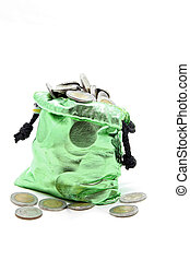 green money bag coins - full coins spilling out from green...