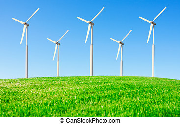 wind power on the background of the blue sky
