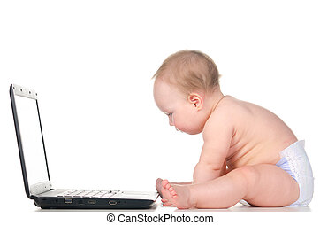 baby is working on laptop - little baby is working on...