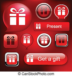 Gift high-detailed modern buttons. - Gift web red buttons...
