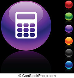 Calculate icon. - Calculate glossy icon. Vector...