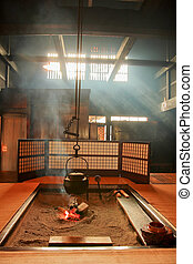 japanese-style Teapot and amazing light ray in japan living...