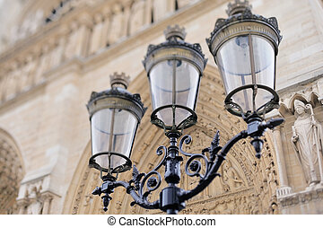 Antique Lamppost - Antique lamp post against the facade of...