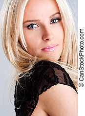 blue eyes - blond blue eyes woman, studio shot