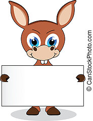 donkey with blank sign