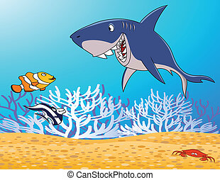 sea life cartoon - illustration of sea life cartoon