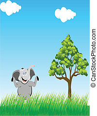 elephant in the wild - illustration of elephant in the wild
