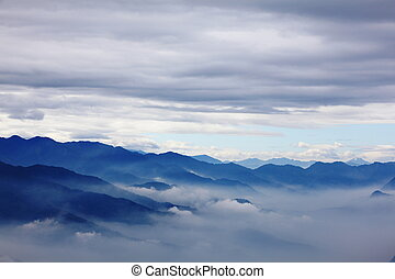mountains with sea of cloud