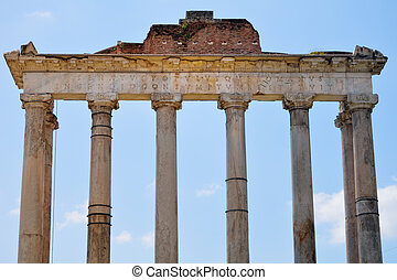 Ancient Portico - Ancient classical Portico against a blue...