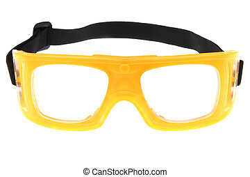 yellow protect eye goggles on white background