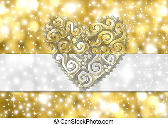 wedding card - card background stars and hearts of gold with...