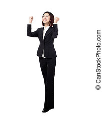Success winner business woman in full length with her arms...