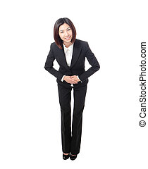 Full length of business woman take a bow - Full length of...