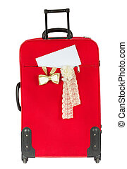 Suitcase with blank white envelop. Vertical. Over white