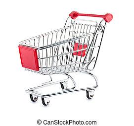 Empty shopping cart isolated on white background