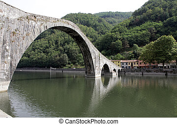 Ponte della Maddalena across the Serchio. Tuscany. Bridge of the Devil