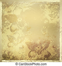 Card for invitation or congratulation with gold orchids