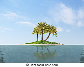 island palm tree ocean 3d cg