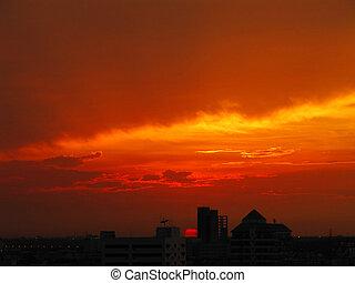 Red sunset in Bangkok, Thailand