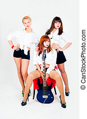 Musical band of girls - Young beautiful women with electric...