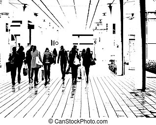 Silhouettes of a group of women who are shopping